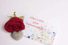 Rose and heart and Card alles Stock Photography