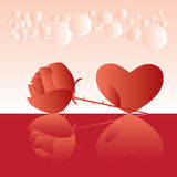 Rose and heart graphic for love Royalty Free Stock Photo