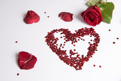 Rose and heart of hearts as love sign Royalty Free Stock Photography