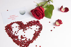 Rose and heart of hearts as love sign Royalty Free Stock Image