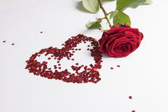Rose and heart of hearts as love sign Stock Images