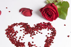 Rose and heart of hearts as love sign Stock Photo