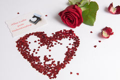 Rose and heart of hearts as love sign - german Royalty Free Stock Photos