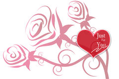 Rose and heart illustration background Royalty Free Stock Images
