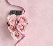 Rose heart with ribbon Royalty Free Stock Photography