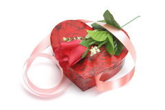 Rose and Heart-shaped Gift Box. Red Rose and Heart-shaped Gift Box on White Background Stock Photos