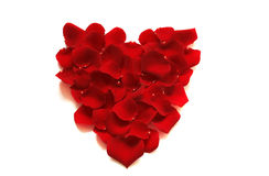 Rose heart / Valentine. Heart shape made of red rose petals, isolated on white, with shadows Royalty Free Stock Images