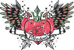 Rose heart wing tattoo Royalty Free Stock Images