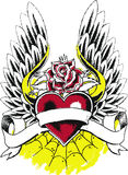 Rose heart wing tattoo Royalty Free Stock Image