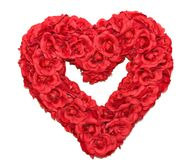 Rose Heart Wreath. A red rose heart shaped wreath on white background Stock Images