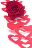 Rose and hearts. A red rose and heart-shaped decorations on white Stock Photo