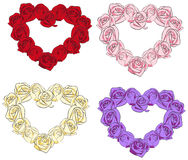 Rose hearts collection set (vector) Stock Photo