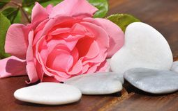 Rose and hearts of white stone Royalty Free Stock Photography