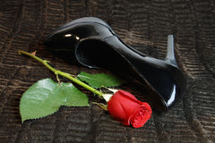 Rose and high heel. Romance concept, night of passion, with black patent leather heel and red rose on a brown velvet throw royalty free stock image