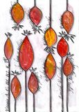 Rose hip, herb, plant, flower, berry, Mixmedia, Bitmap. Rose hip, berry, herbst, fruit of Wild Rose, background MixMedia, negative painting, finished with Stock Photo