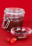 Rose hip jam and fruits over red background Stock Images