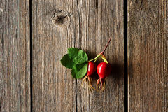Rose hip over old wooden background Royalty Free Stock Images
