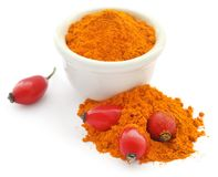 Rose hip powder with fruits royalty free stock images