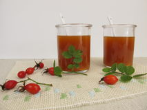 Rose hip soup in glass Stock Photography