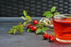 Rose hip tea with organic berry on black background Royalty Free Stock Photography