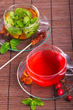 Rose hip tea and green mint tea Royalty Free Stock Image
