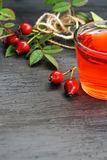 Rose hip tea with organic berry on black background Royalty Free Stock Photo
