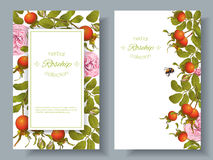 Rose hip vertical banners. Vector rose hip vertical banners on white background. Design for tea, homeopathy, herbal cosmetics,health care products. With place Stock Images