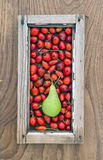 Rose hips fruit and pear in old window frame Royalty Free Stock Photos