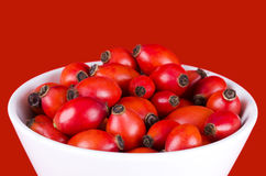Rose hips in a white bowl over red Royalty Free Stock Photo