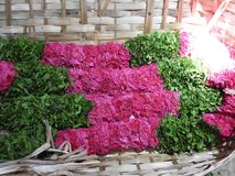 Rose and holy basil garlands royalty free stock photography
