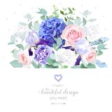 Rose, hydrangea, eucalyptus, iris, carnation. Floral design vector border in watercolor style. Rose, hydrangea, eucalyptus, iris, carnation. Pink, violet, white vector illustration