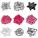 Rose icons set. Pink rose icons vector set stock illustration