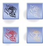 Rose icons set in blue color Stock Photo