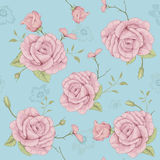 Rose illustration seamless pattern. Seamless vector illustration of flowers Stock Photos