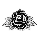 Rose illustration in tattoo style. Design element for oster, emblem, sign,t shirt. Vector illustration Stock Photography