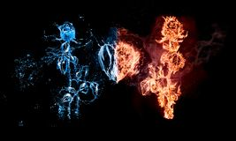 Free Rose In Flames/rose Burning On Fire Is On The One Side And Wet Rose In Light Blue Water With Water Drops Is On The Second Side Royalty Free Stock Image - 166788426