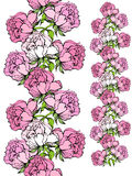 Rose and iris seamless borders. Royalty Free Stock Images