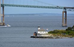 Rose Island Lighthouse. View across Newport harbor toward the Rose Island Lighthouse, Newport Rhode Island USA royalty free stock photos