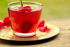 Rose jam. In a glass jar Royalty Free Stock Photo