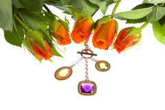 Rose  and jeweller ornament Royalty Free Stock Image