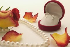 Rose and jewelries. White pearl necklace and ring with petal of rose over white background Stock Image