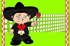 Rose kid mexican mariachi cartoon expressions background Royalty Free Stock Images