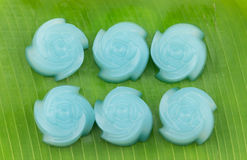 The rose kind of Thai sweetmeat on banana leaf Stock Image