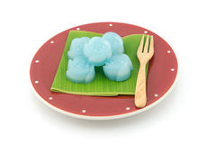 The rose kind of Thai sweetmeat on banana leaf Royalty Free Stock Photo
