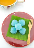 The rose kind of Thai sweetmeat on banana leaf Royalty Free Stock Photography