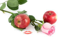 Rose, kiss and apples Stock Photo