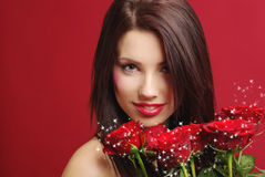 rose kvinna för red Royaltyfri Foto
