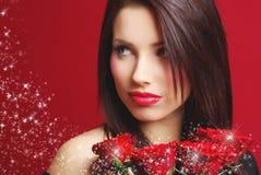 rose kvinna för red Arkivfoto