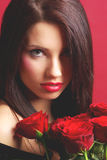 rose kvinna för red Fotografering för Bildbyråer