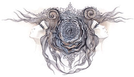 rose kvinnor vektor illustrationer